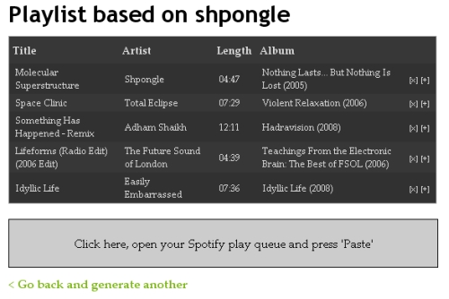 Spotibot-generate playlist based on the psybient band Shpongle
